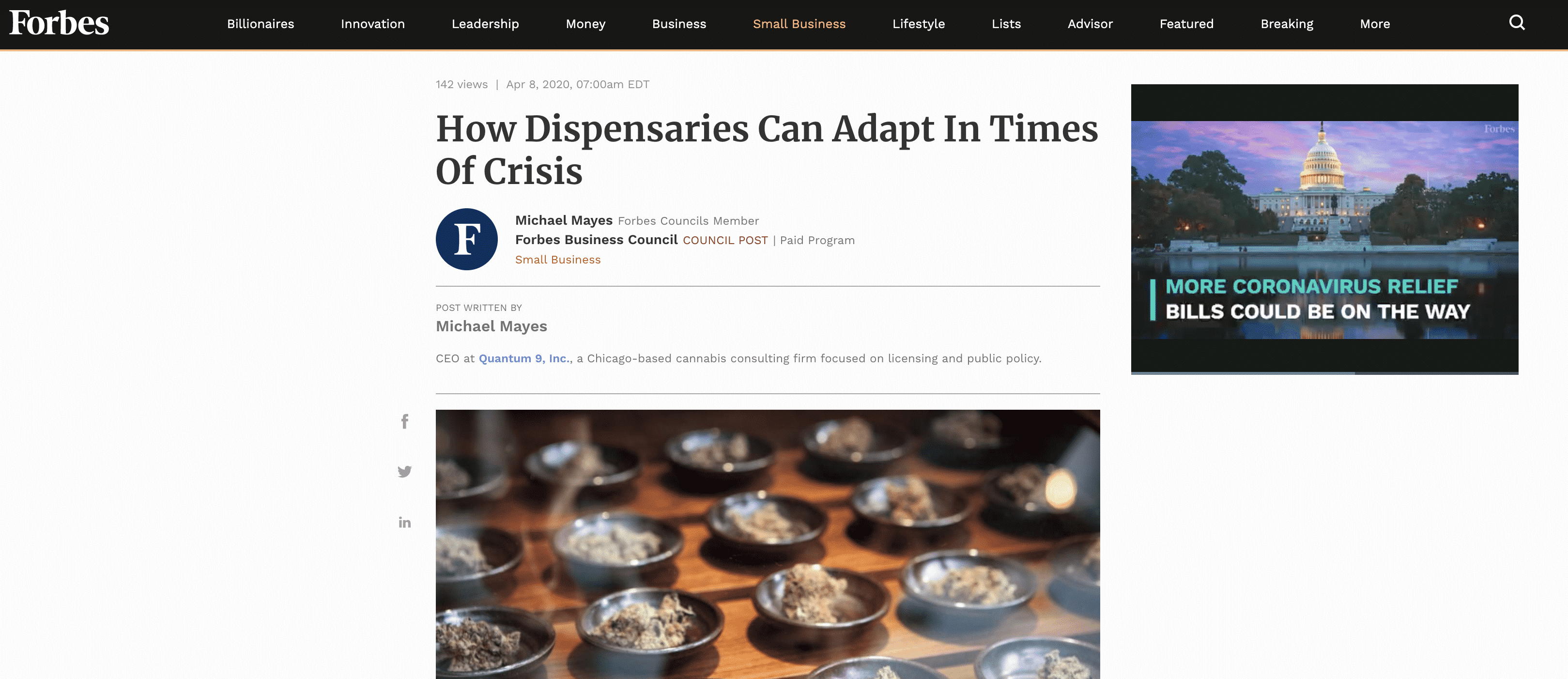 MMJ Consulting Forbes Article Written by Michael Mayes